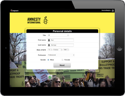 Amnesty International is face to face fundraising on Waysact
